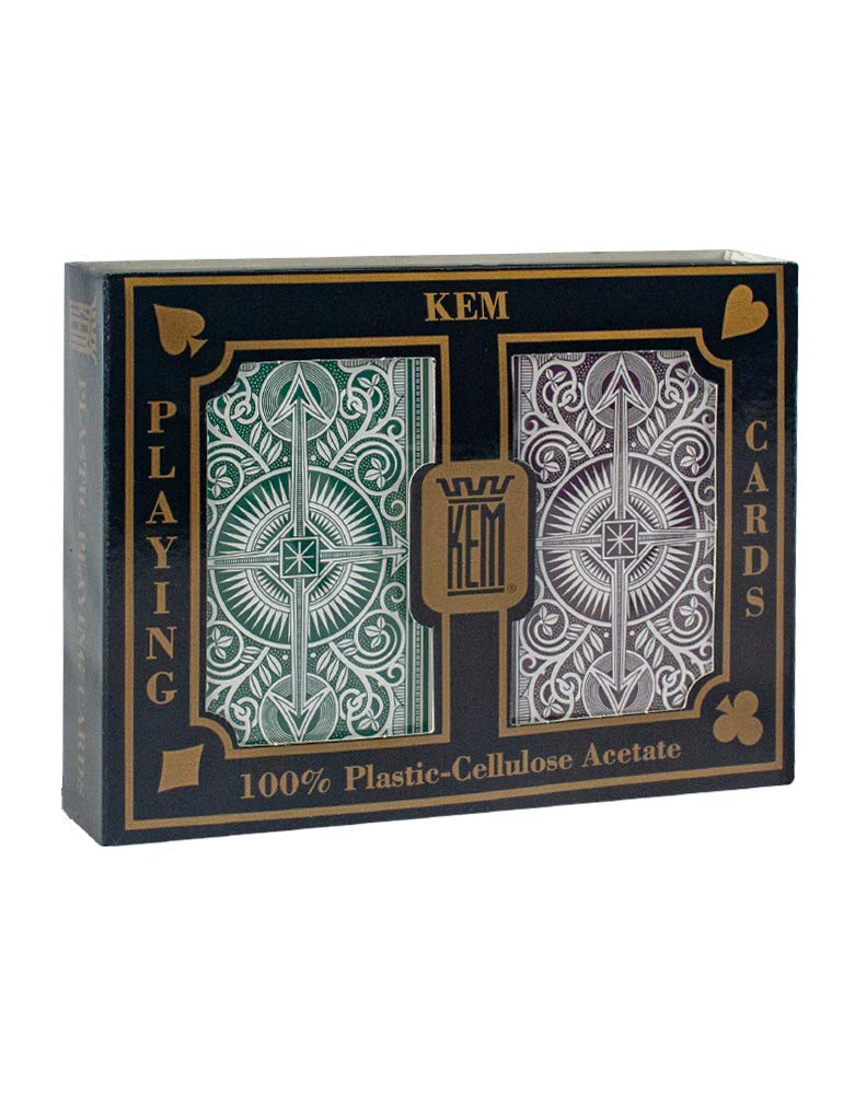 KEM Arrow Green and Brown, Bridge Size- Standard Index Playing Cards (Pack of 2)