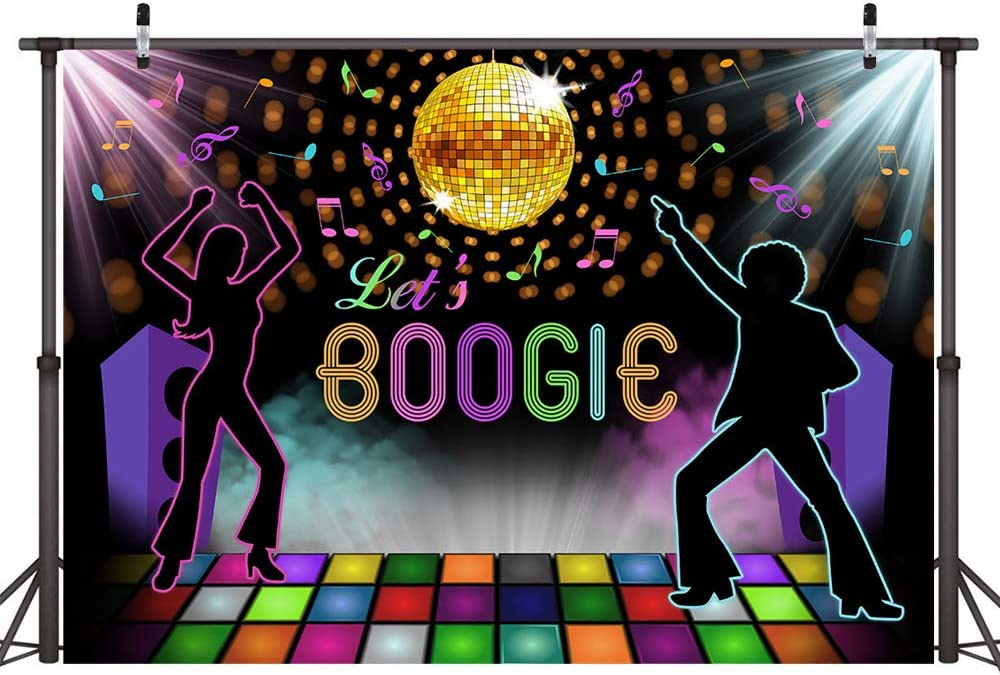 COMOPHOTO Lets Boogie Party Decoration Backdrop Seventies Rainbow Disco Ball Boogie Fever Large Backdrop Scene Setter Birthday Celebration Party Photo Booth