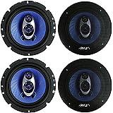 4) NEW Pyle PL63BL 6.5 720 Watt 3-Way Car Audio Coaxial Speakers Blue Stereo