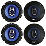 4) NEW Pyle PL63BL 6.5'' 720 Watt 3-Way Car Audio Coaxial Speakers Blue Stereo