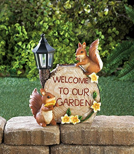 Solar Welcome To Our Garden Squirrels Yard Lawn Decor Outdoor Home - Squirrel Welcome