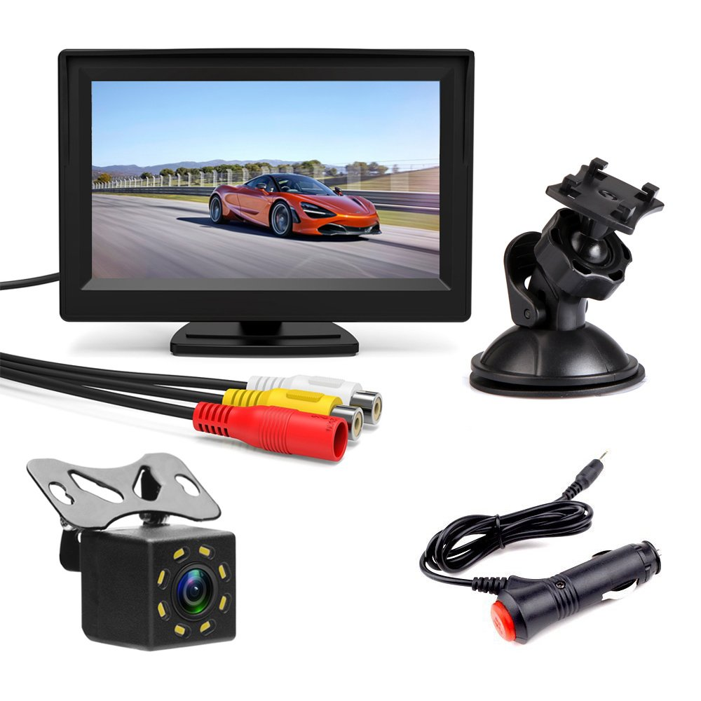 Podofo Wired Backup Camera 5 Inches Color Monitor Screen Parking Assist System Mini Night Vision Camera Waterproof 170 Degree Angle Lens 8 LED Night Vision
