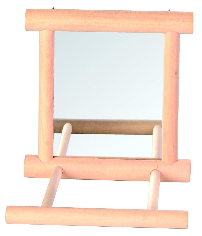 Trixie Bird Mirror with Wooden Frame/2 Landing Perches, 9 x 9 cm 4011905058610