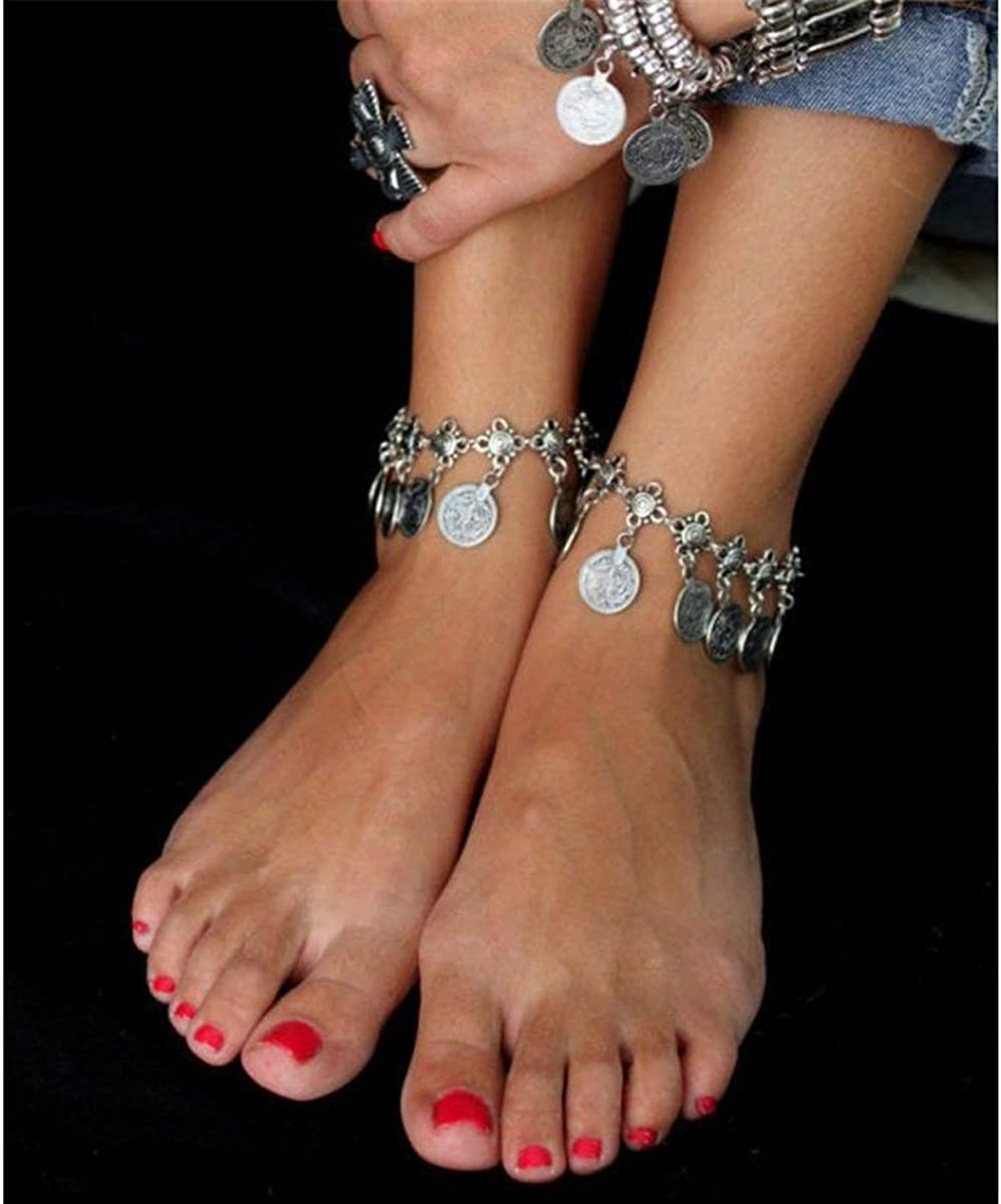 LKXHarleya Women 2pcs Vintage Bohemia Style Coins Tassels Chain Anklet Jewelry