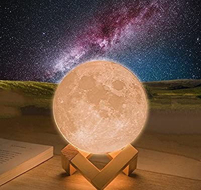 3D Moon Lamp,Vinmax USB LED Night Light Magical Lunar Table Lamp Moonlight Gift Two Tone Touch Sensor with Wooden Holder