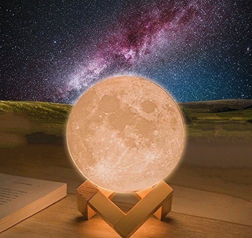3D Moon Lamp,Vinmax USB LED Night Light Magical Lunar Table Lamp Moonlight Gift Two Tone Touch Sensor with Wooden (Magical Light)