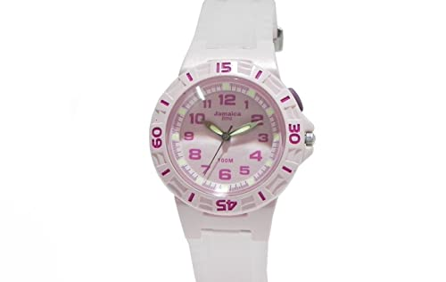 Reloj Jamaica Time deportivo Mujer Goma Rosa Pink White Dial luz 10 ATM j3363r