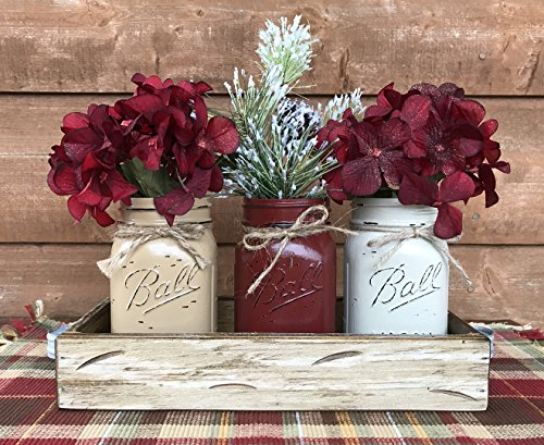 - HOLIDAY Centerpiece Mason JARS in Wood Antique White or Red Tray with 3 Ball Pint Jar -Kitchen Table -Christmas Decor -Distressed Rustic -Florals (OPTIONAL) - Pine Berries Green Evergreens Flowers