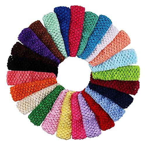 25 Pcs Colourful Elastic Crochet Headbands Hair Accessories - 1.5 Inch Width Stretch Hair Bands DIY Head Flower and Bows -