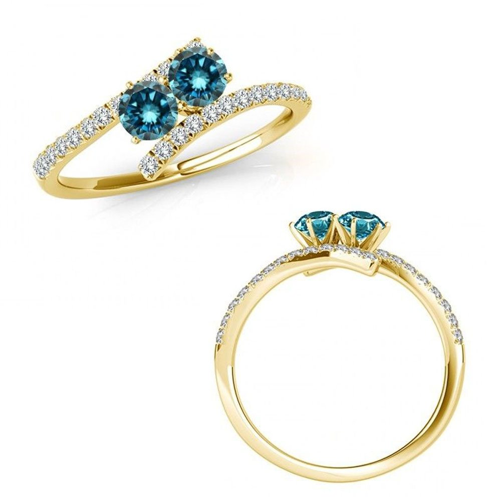 1/2 ct tw I Love Us Two-Stone Blue & White Ring Diamonds in 14K Yellow Gold ''My Best friend is My true love''