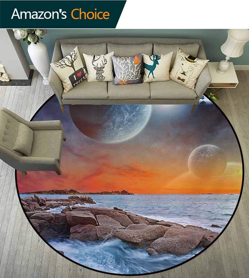 RUGSMAT Galaxy Non-Slip Area Rug Pad Round,Planet Landscape View from A Beautiful Rocky Beach Ocean Science Room Theme Protect Floors While Securing Rug Making Vacuuming,Diameter-71 Inch