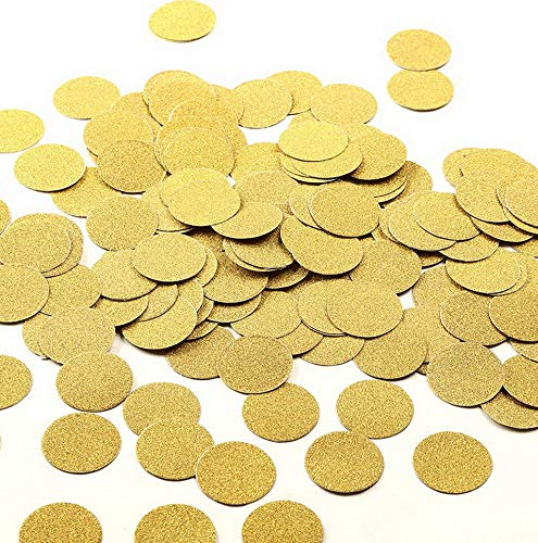 Kaputar Glitter Paper Confetti Circles, Decor and Table Decor, 1.2'' in Diameter (Glitter Gold,200pc) | Model WDDNG -830 ()