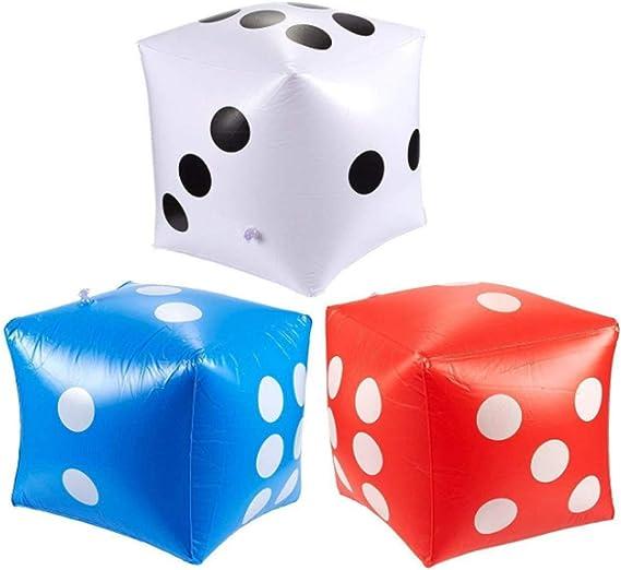KISEER Dados inflables de 14 Pulgadas, 3 Dados Gigantes para Juegos al Aire Libre, Fiesta de Piscina (Blanco, Azul, Rojo): Amazon.es: Juguetes y juegos