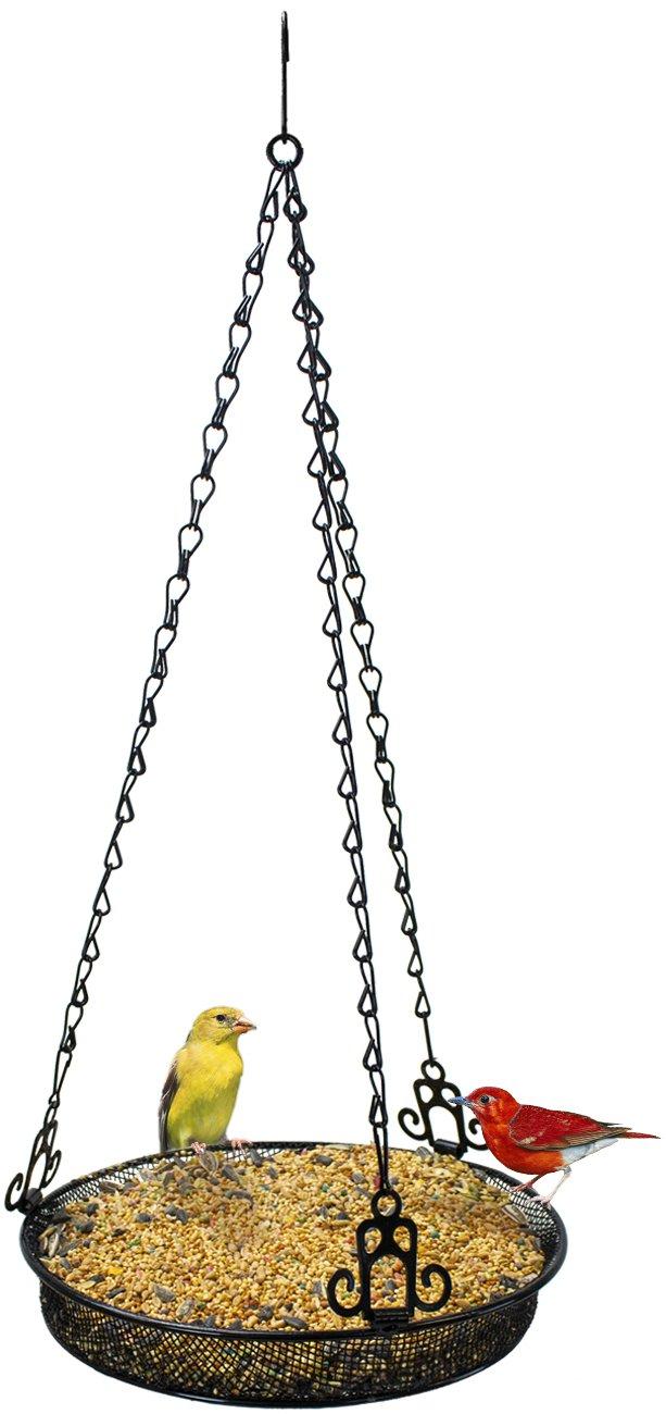 Sorbus Bird Feeder Hanging Tray, Seed Tray For Bird Feeders, Great for Attracting Birds Outdoors, Backyard, Garden (Black)