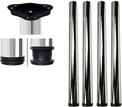 Juego de 4 barras ajustables para encimera. Patas de mesa de cocina 710 mm, 820 mm, 870 mm y 1100 mm con tornillos y placa de montaje: Amazon.es: Bricolaje y herramientas