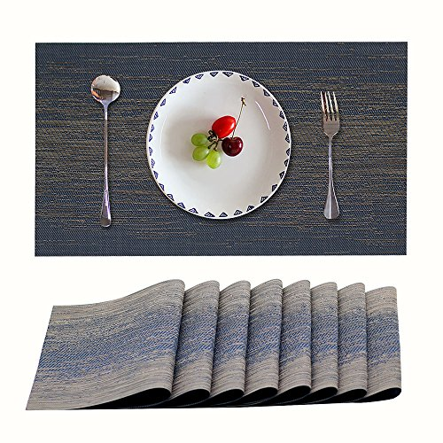Candumy Blue Placemats Set of 8 Washable for Kitchen Dining Table,Heat Insulation Stain Resistant Kitchen Table Mats Non Slip Woven Vinyl Place Mats