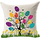 featured product Best Gift For Spring Season's Greetings Happy Easter Beautiful Large Big Color Eggs Tree Bunny Rabbit Flowers New Home Office Decorative Cotton Linen Throw Pillow Case Cushion Cover Square 18 Inches