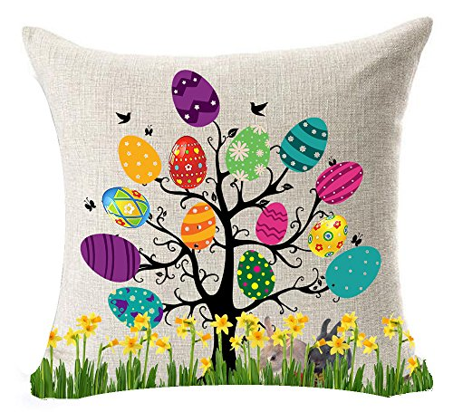 Best Gift For Spring Seasons Greetings Happy Easter Beautiful Large Big Color Eggs Tree Bunny Rabbit Flowers New Home Office Decorative Cotton Linen Throw Pillow Case Cushion Cover Square 18 Inches