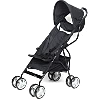 Diroan Baby Lightweight Stroller, Kids Pushchair, Pocket Travel Buggy, Compact Folding, Easy Transport by Plane Bus, with Accessories, Rain Cover, from Birth to 3.5 Years, 0-15 kg, Black