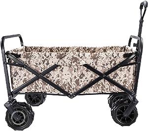 Garden Carts Folding Shopping Trolley Portable Four-Wheeled Trolley Camping Trolley, Camouflage