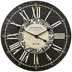 IMAX 16051 Hotel Wall Clock - 23.25 in. MDF, Black, Analogue Clock with Roman Numerals, Iron Hands, Distressed Vintage Theme. Home Decor Accessories