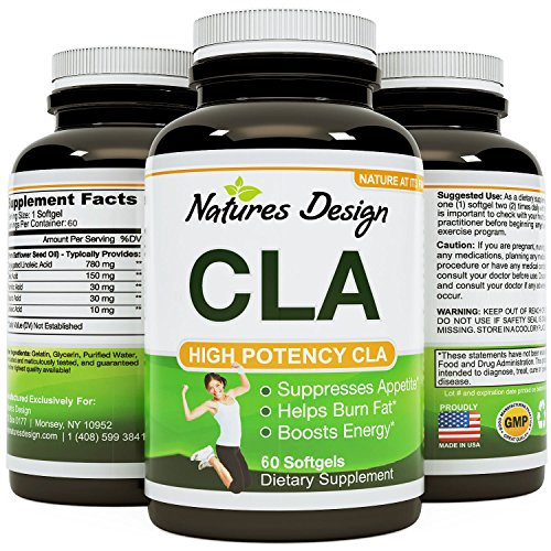 Pure CLA Supplement, Best Premium Quality ★ Highest Grade Safflower Oil (Best Formula) 1000 Mg ★ All natural & Guaranteed By Natures Design