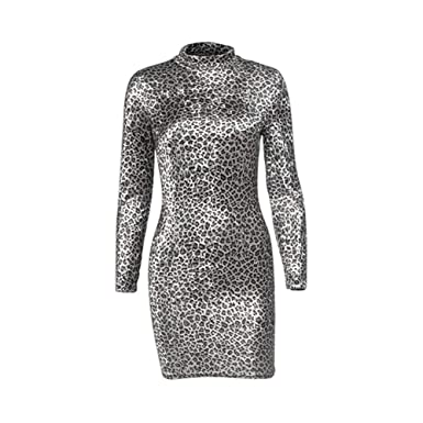 2e38fe1c3b6 RoJuicy Women Long Sleeves Bodycon Dress Leopard Print Slimming Body High  Collar Dress Blue