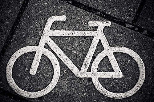 Symbol Shield Road Sign (LAMINATED 36x24 inches POSTER: Bike Characters Cycle Path Road Bicycle Path Cycle Path Signs Away Wheel Cycling Mark Cyclists Note Symbol Traffic Drive Locomotion Asphalt Road Network)