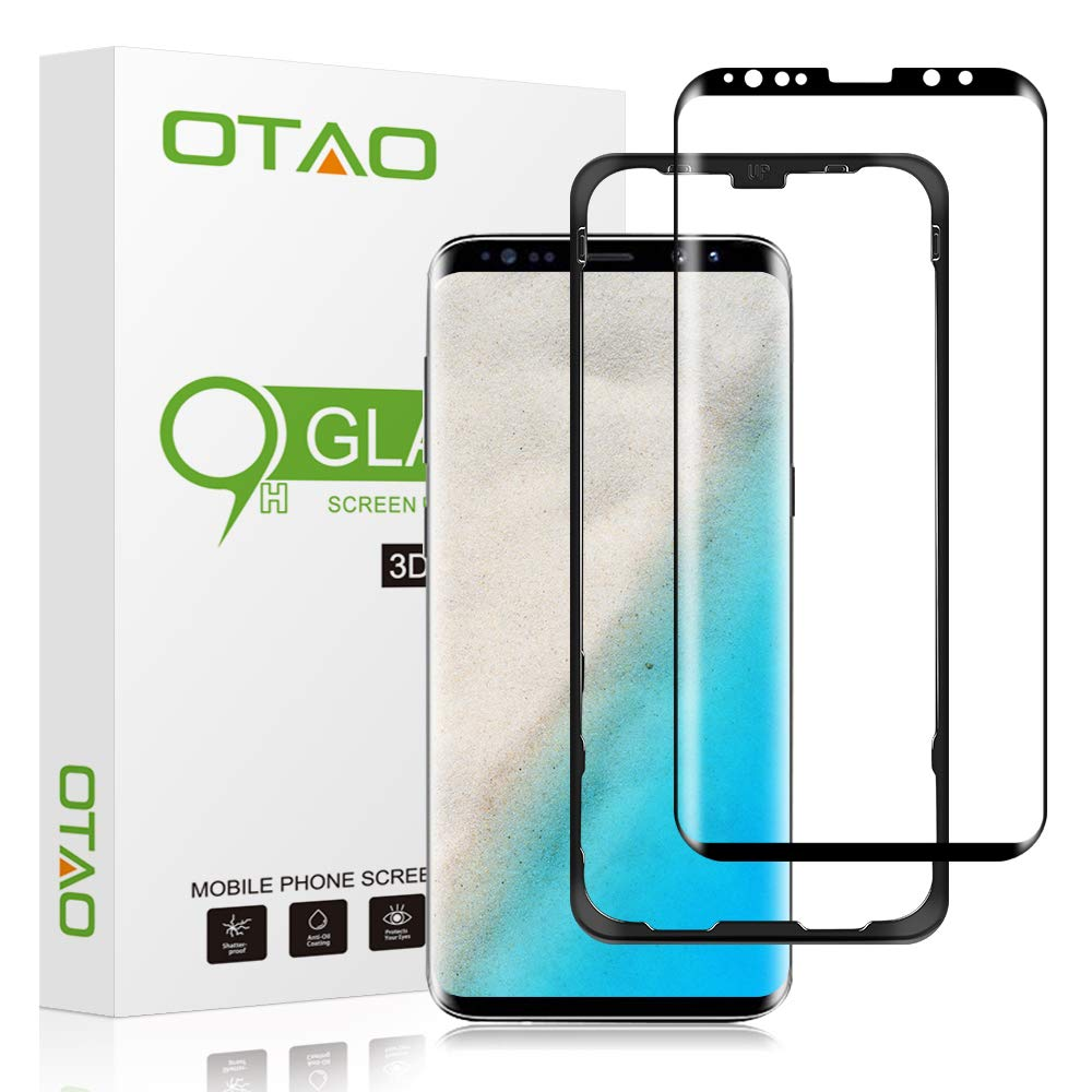 OTAO Galaxy S9 Plus Screen Protector Tempered Glass, [Update Version] 3D Curved Dot Matrix [Full Screen Coverage] Glass Screen Protector (6.2'') with Installation Tray [Case Friendly] for Samsung S9+ by OTAO