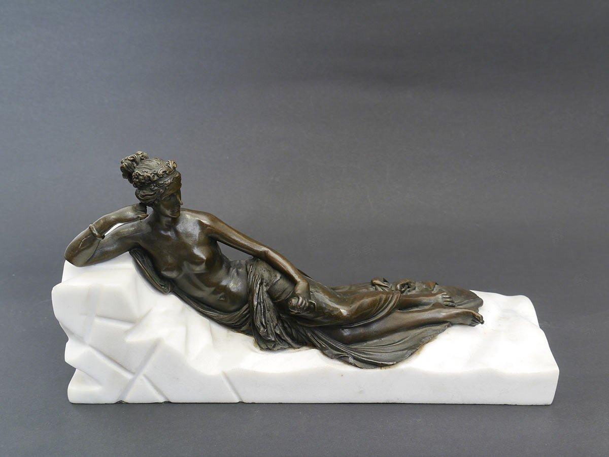 Antike Fundgrube Bronze Figur Skulptur Dekoration Dame liegend auf ...