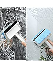 BananaHome Multi-Use Clean Glass Squeegee,2 in 1Glass Sponge Cleaning Brush Glass Scraper Wiper Mirror Glass door and window Tile Cleaning Brush Bathroom Squeegee