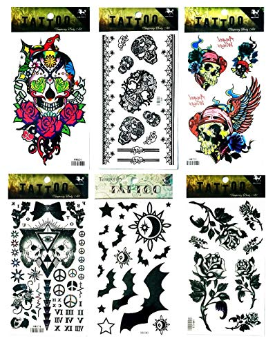 NipitShop Tattoos 6 Pcs Skull Rose Skull Wings Bat Halloween Yin yang Peace Symbol Tattoo Stickers 3D Waterproof Body Art Arm Hand Temporary Tatoo ()