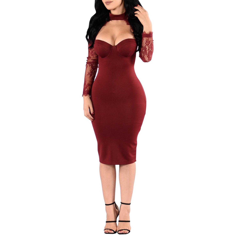 TALLA X-Large(EU 42-44). Synker Mujer Vestido de Fiesta Manga Larga Retro Encaje Vestidos de Coctel Rojo X-Large(EU 42-44)