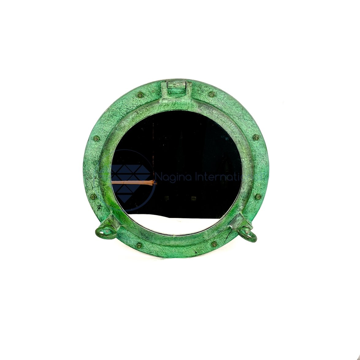 20'' Shipwrecked Premium Aluminum Antique Algae Green Porthole Mirror | Retirement Gift | Nagina International by Nagina International (Image #9)