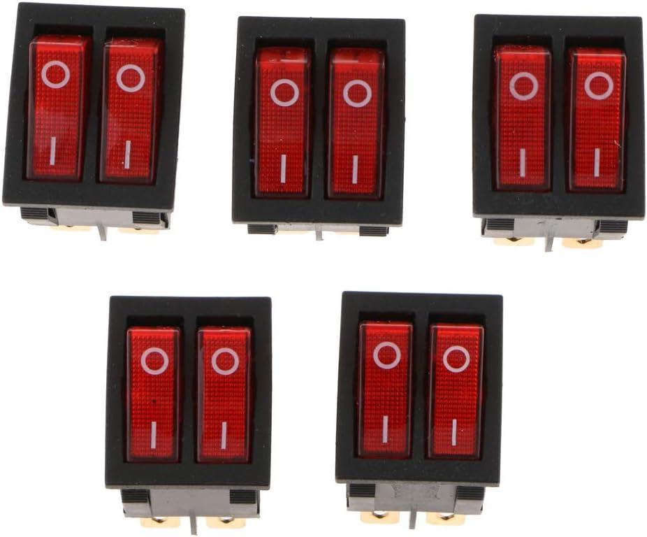 Sharplace 5 Pcs 6pin 15a250v 20a125v Rouge Bouton on//Off Double Interrupteur /à Bascule