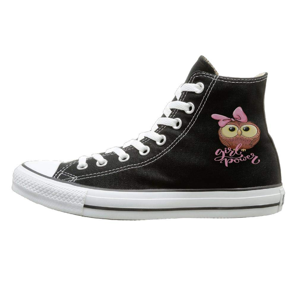 Shenigon Cute Pink Owl Girl Power Kids Art Canvas Shoes High Top Design Black Sneakers Unisex Style