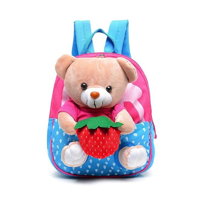 56282249aa Cute Cartoon Animal Teddy Bear Canvas Waterproof Toddler Backpack Kids  School Book Bag Beer Shaped Kids