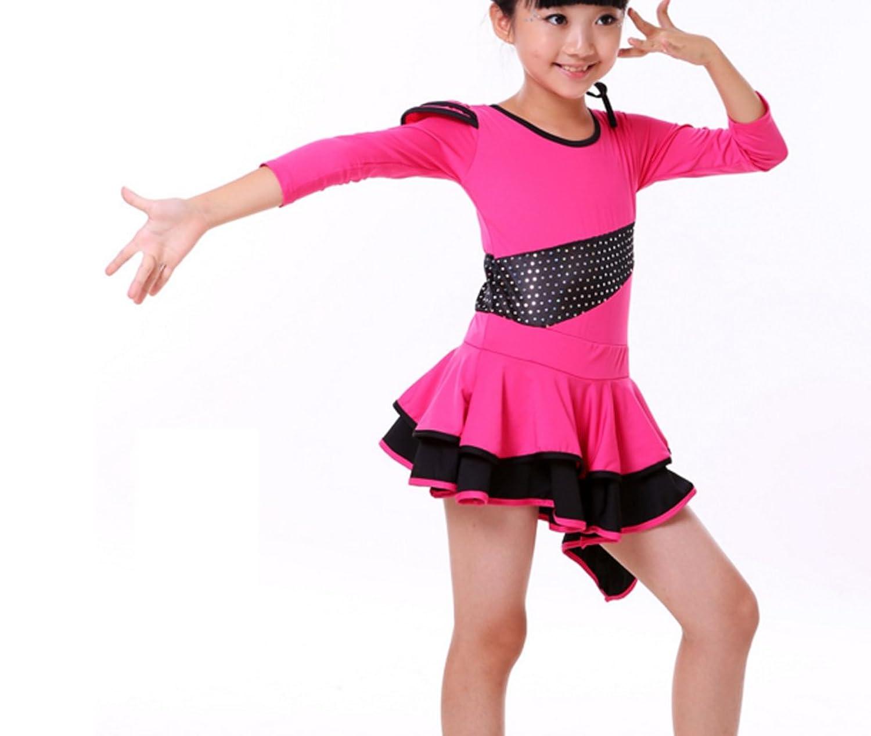 Children girls Latin dress Long-sleeved Latin dress Cha Cha skirts Tango dress