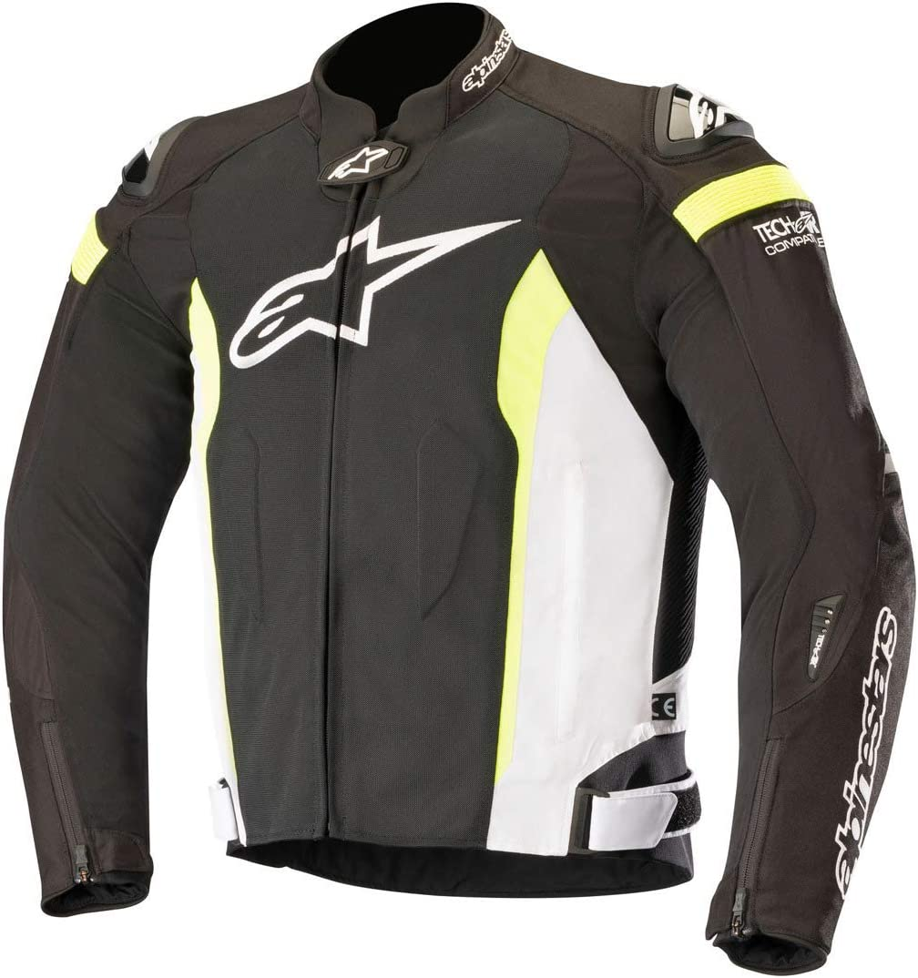 Alpinestars Men's T-Missile Air Motorcycle Jacket Tech-Air Compatible, Black/White/Yellow, 3X-Large