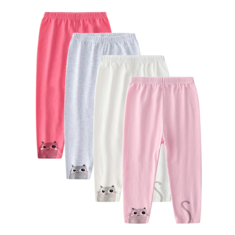CHIC-CHIC Lot de 4 Legging Bébé Fille Garçon en Coton avec Bande élastique Pantalon de Sport Motif Imprimé Doux Mignon
