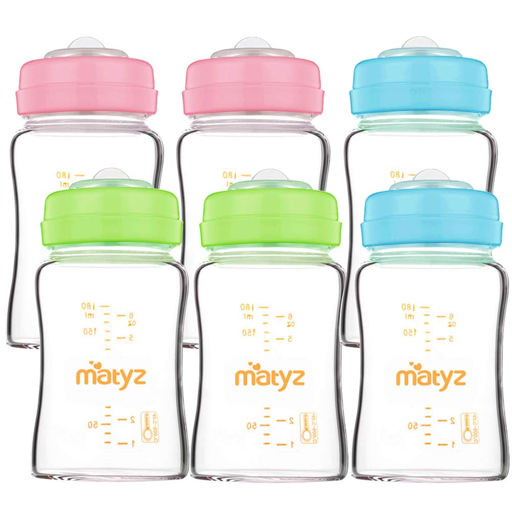 Matyz 6-Pack Borosilicate Glass Breast Milk Bottles (6 oz, 3 Colors) - Wide Neck Breastmilk Collection and Storage Bottle - Formula Storage Bottles Compatible with Medela Avent Spectra Pumps