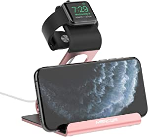 Apple Watch Stand, Mercase Aluminum NightStand iWatch &iPhone Universal Desktop Stand Holder Charging Station for iWatch Series 5/4/3/2/1,iPhone 11/11Pro/11Max/Xs/X Max/XR/X/8/8Plus/7/7Plus -Rose Gold