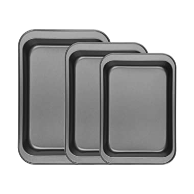 Finether Bakeware Set   Premium Nonstick Baking Pans   Set of 3 Square Baking Pans   Large and Medium and Small Nonstick Cookie Sheet Bake Ware for Home Kitchen Use