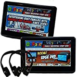 Autotain [PAIR] EDGE 10.1 inch [TOUCH SCREEN] Slim Car TV Active Headrest Monitor DVD Player + HDMI, 1080P, Home Power Cables, Cloud Headphones