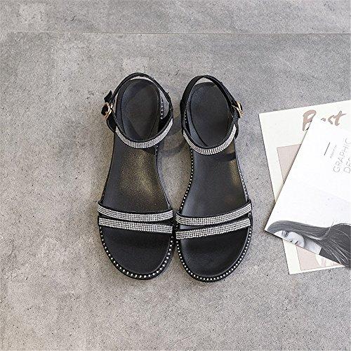 Decoration de Shoe Cuero Las Negro Señoras Simples de Sandalias Rhinestone Roma wtFqfHzTnx
