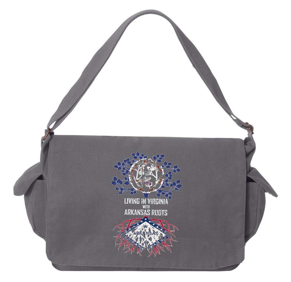 Tenacitee Living In Virginia with Arkansas Roots Grey Brushed Canvas Messenger Bag