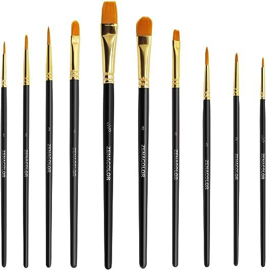 Zenacolor - Juego de 10 brochas de pintura acrílica para óleo y acuarela, juego de pinceles de