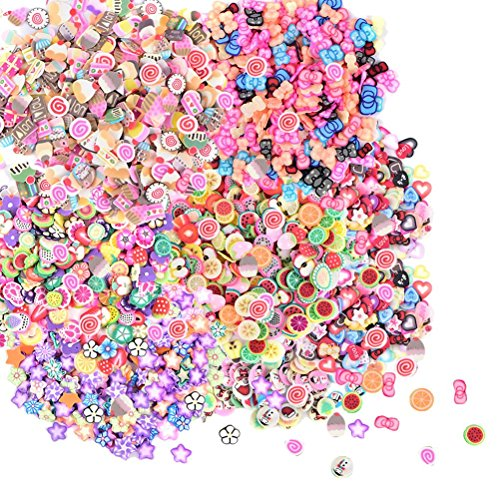 TUANTUAN 2500 Pcs 3D Fimo Nail Art Nail Tips Polymer Clay Slices Decoration Fimo Decal Pieces Accessories,10 ()