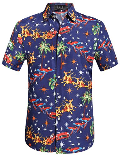 SSLR Men's Santa Claus Holiday Party Hawaiian Ugly Christmas Shirt (Meidum, Navy)