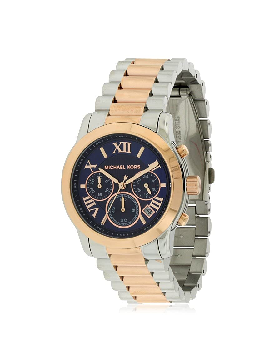Michael Kors Women s Cooper Watch, Silver Rose Gold Navy, One Size